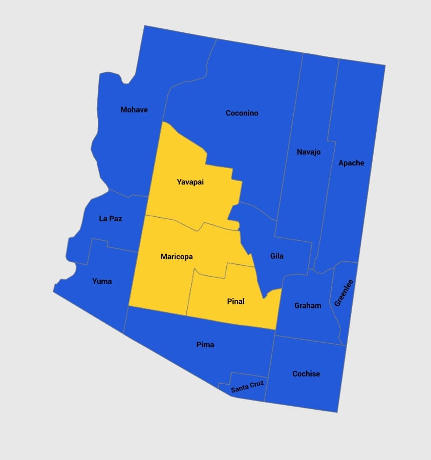 Map of Service Area including Maricopa, Yavapai, and Pinal Counties